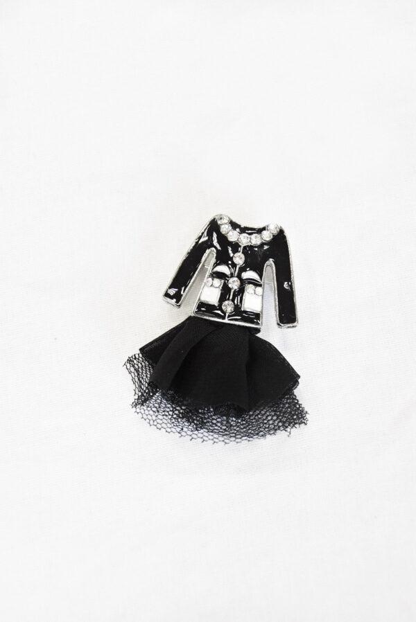 Брошь металл эмаль стразы черный жакет и фатиновая юбка (t0520) - Фото 6