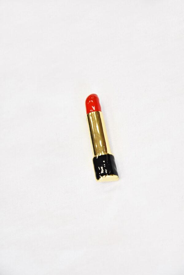 Брошь губная помада металл эмаль (t0521) Д-1 - Фото 6