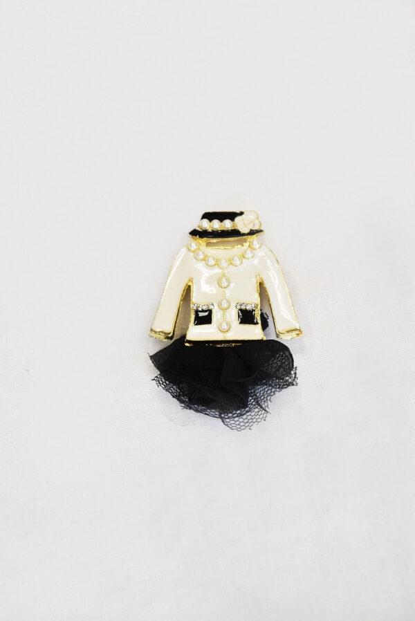 Брошь металл эмаль стразы белый жакет черная юбка (t0523) Д-1 - Фото 6