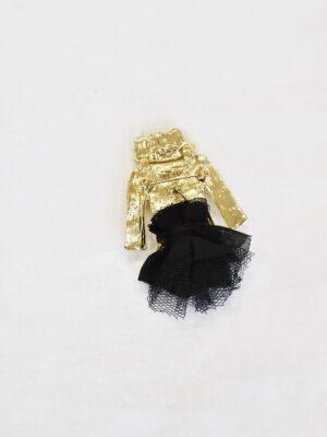 Брошь металл эмаль стразы белый жакет черная юбка (t0523) Д-1 - Фото 11
