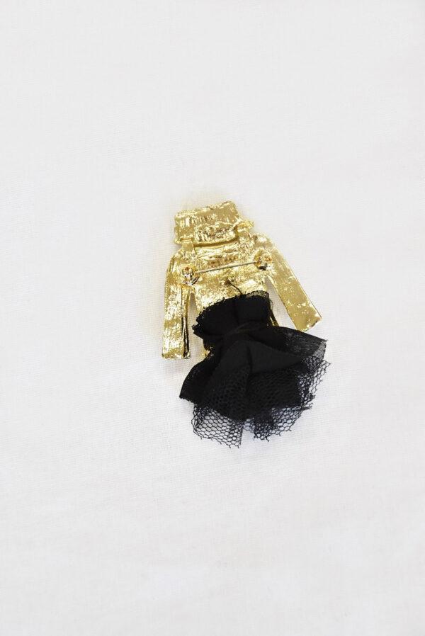 Брошь металл эмаль стразы белый жакет черная юбка (t0523) Д-1 - Фото 7
