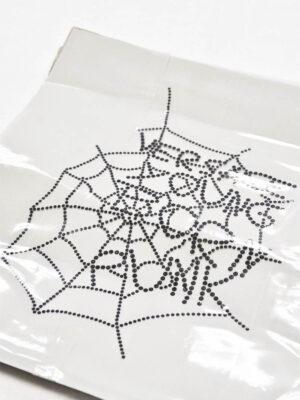 Аппликация переводная черная паутинка из страз (t0530) - Фото 7