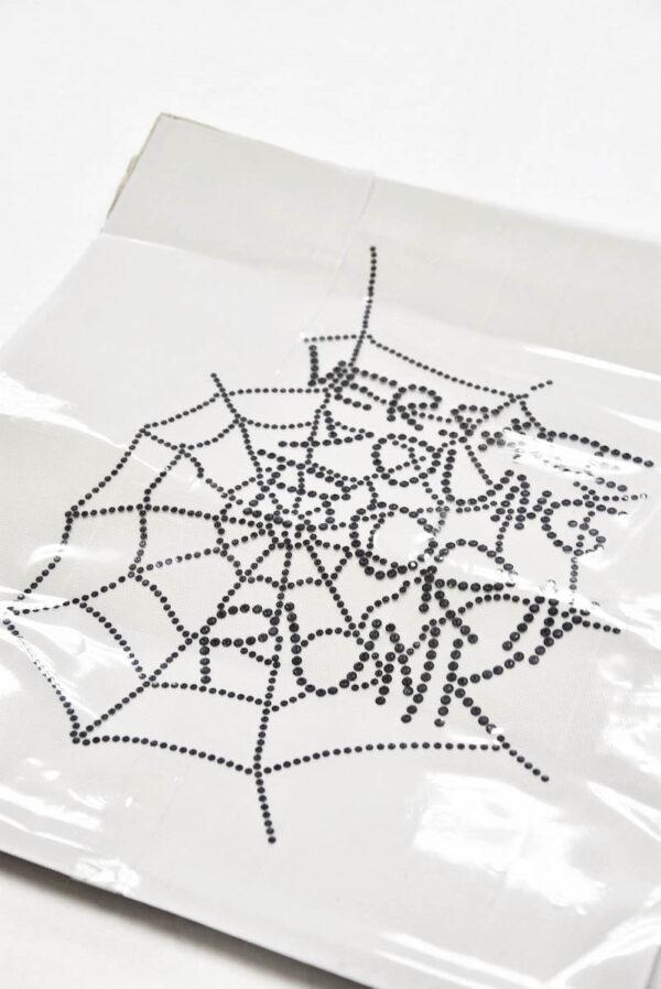 Аппликация переводная черная паутинка из страз (t0530) - Фото 6