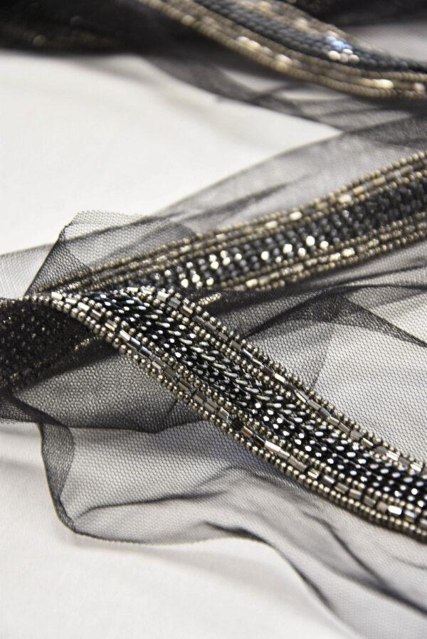 Тесьма черная с вышивкой стеклярусом и бисером (t0531) Т-19 - Фото 7