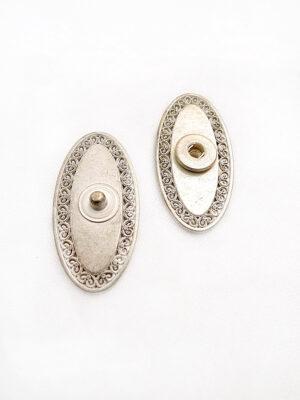 Кнопки пришивные металлические цвет старое золото овальные плоские ажурные (p0544) - Фото 14