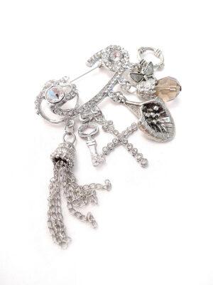 Булавка металл серебро белые стразы подвески брелоки ключ крест кристалл бабочка цепочки (p0567) - Фото 28