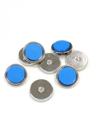 Пуговица круглая на ножке серебро голубая вставка керамика (P0584) - Фото 8
