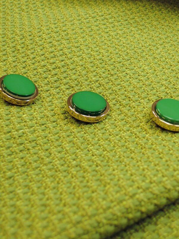 Пуговица метал золото зеленая керамическая вставка (P0585) - Фото 10