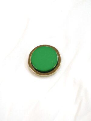 Пуговица метал золото зеленая керамическая вставка (P0585) - Фото 15