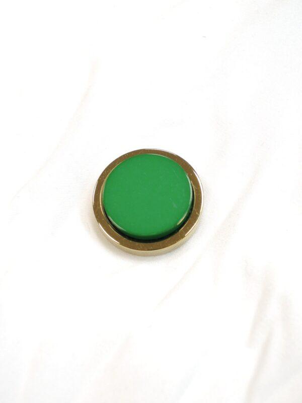 Пуговица метал золото зеленая керамическая вставка (P0585) - Фото 6