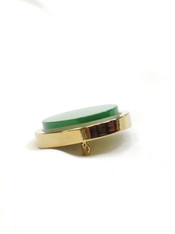 Пуговица метал золото зеленая керамическая вставка (P0585) - Фото 7