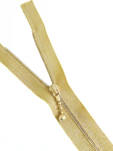 Молния 16см неразъемная один бегунок м4 тесьма люрекс золото Riri (m1236) - Фото 6