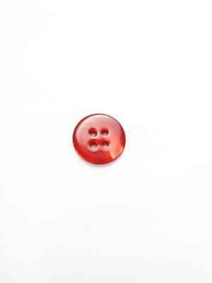 Пуговица пластик круглая плоская на четыре прокола красный перламутр (p0660) - Фото 9