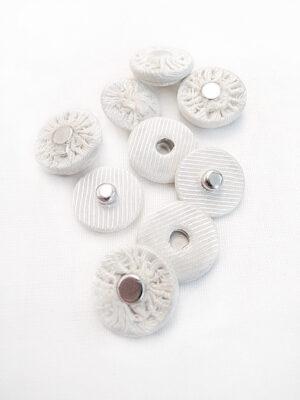 Кнопки пришивные круглые металл обтянутые тканью цвет молочный в рубчик (p0664) - Фото 15