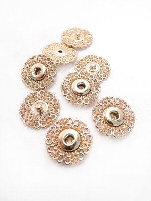 Кнопки пришивные круглые ажурные с колечками металл цвет золотой (p0687) - Фото 29
