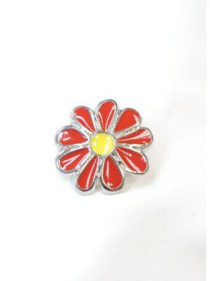 Пуговица металл эмаль на ноже ромашка красная с желтым (p0703) - Фото 11