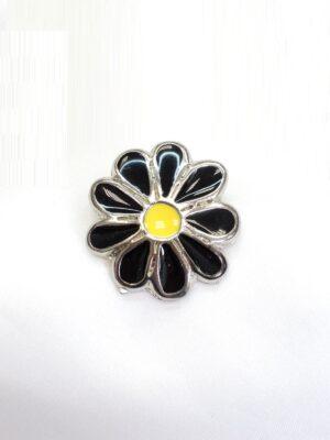 Пуговица металл эмаль на ножке ромашка черные лепестки желтая серединка (p0705) - Фото 15