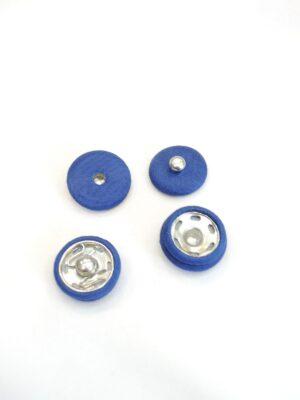 Кнопка декоративная пришивная металлическая обтянута тканью синяя (р0715) - Фото 16