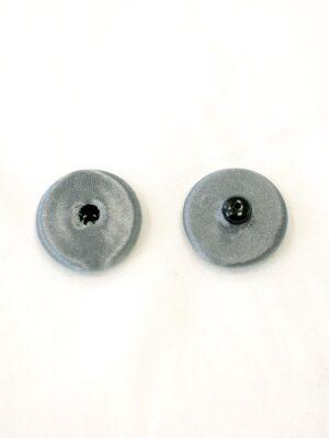 Кнопка декоративная пришивная круглая металлическая обтянута тканью серая (р0729) - Фото 6