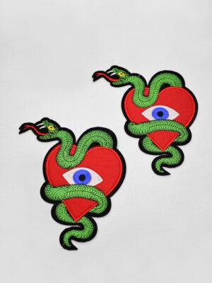 Термоаппликация сердце змея глаз (t0736) А-2 - Фото 12
