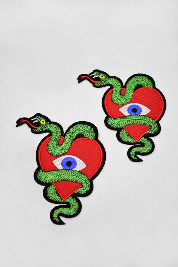 Термоаппликация сердце змея глаз (t0736) А-2 - Фото 7