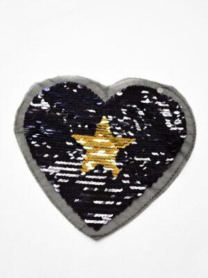 Аппликация пришивная черное сердце с звездой из пайеток (t0738) А-2 - Фото 11