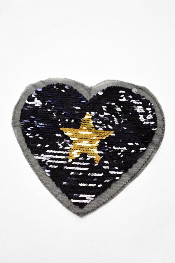 Аппликация пришивная черное сердце с звездой из пайеток (t0738) А-2 - Фото 6