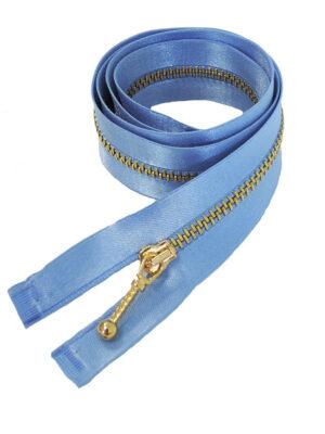 Молния 70см разъемная один бегунок металл м4 золото на атласной тесьме светлый голубой Lampo (M0738) - Фото 7
