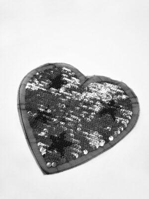 Аппликация пришивная черное сердце с звездой из пайеток (t0738) А-2 - Фото 12