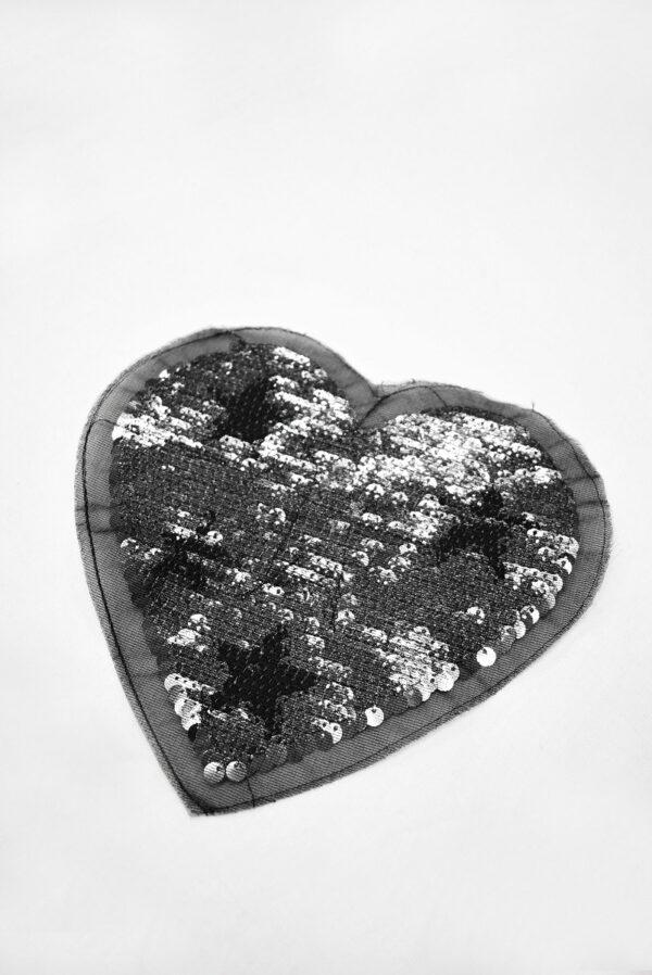 Аппликация пришивная черное сердце с звездой из пайеток (t0738) А-2 - Фото 7