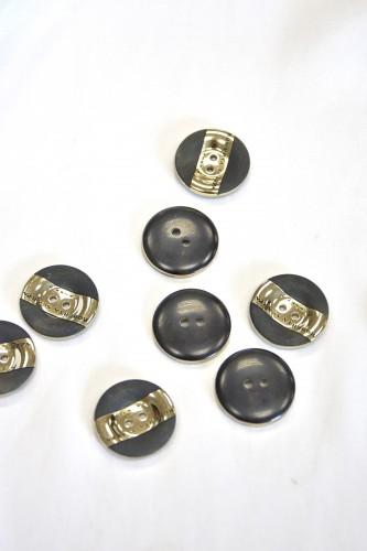 Пуговица круглая комбинированная черная золотая вставка два прокола (p0739) - Фото 8