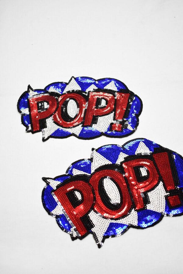 Аппликация пришивная пайетки надпись pop (t0746) А-2 - Фото 7