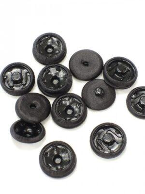 Кнопка декоративная пришивная круглая металлическая обтянута тканью черная (p0746) - Фото 18