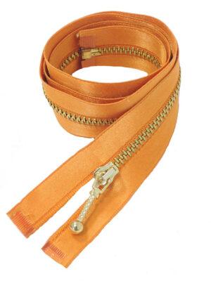 Молния 70см разъемная один бегунок металл м4 золото на атласной тесьме оранжевая Lampo (M0750) - Фото 10