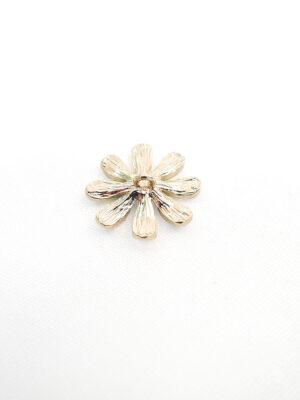 Пуговица металл эмаль на ножке золото голубой цветок кристалл в центре (p0762) - Фото 12