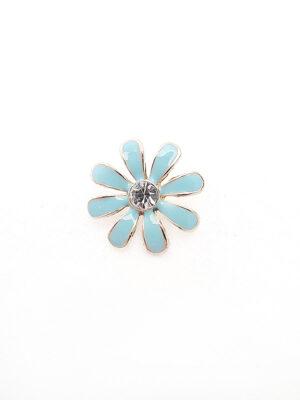 Пуговица металл эмаль на ножке золото голубой цветок кристалл в центре (p0762) - Фото 11