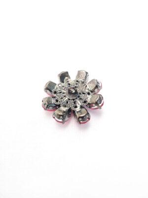 Пуговица металл темное серебро цветок красные и серебристые кристаллы (p0763) - Фото 15