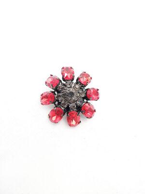 Пуговица металл темное серебро цветок красные и серебристые кристаллы (p0763) - Фото 14