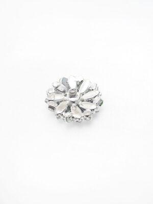 Пуговица металл серебро цветок бирюзовые и светло-зеленые кристаллы (p0764) - Фото 14