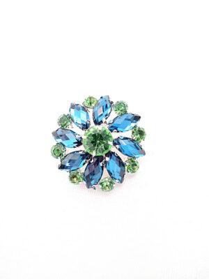Пуговица металл серебро цветок бирюзовые и светло-зеленые кристаллы (p0764) - Фото 13