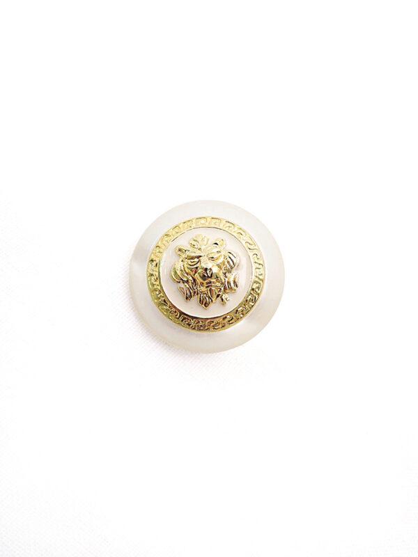 Пуговица пластик молочная с золотым львом пальтовая 28мм (p0772) к21 - Фото 6