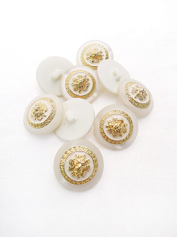 Пуговица пластик молочная с золотым львом пальтовая 28мм (p0772) к21 - Фото 8