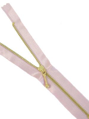 Молния 18см неразъемная один бегунок металл м4 серебро на атласной тесьме нежно-розовая Lampo (M0792) - Фото 9