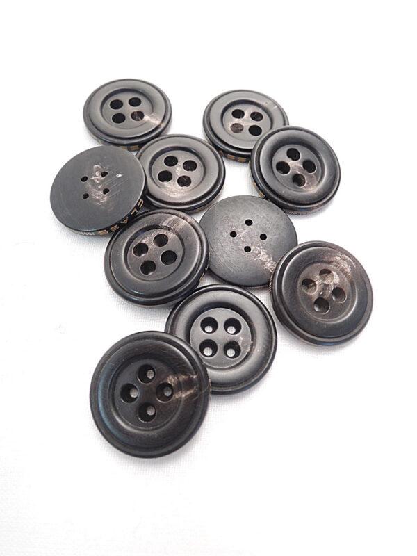 Пуговица круглая пластик на четыре прокола цвет темно-коричневый с разводами (p0792) к21 - Фото 8