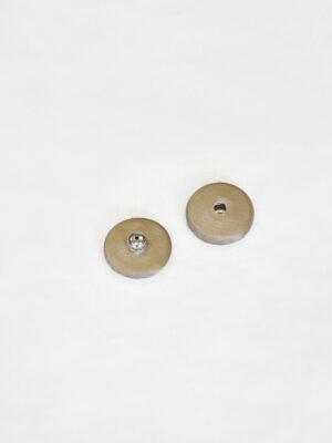 Кнопки металлические серебряные обтянутые гладкой тканью бежевого оттенка (p0811) - Фото 8
