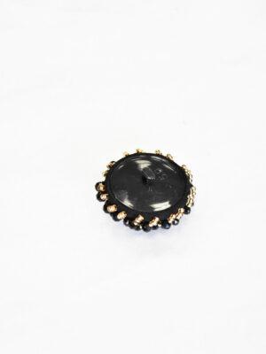 Пуговица круглая нарядная пластик на ножке с вышивкой черные стразы золотой бисер (p0820) - Фото 19