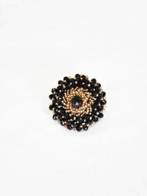 Пуговица круглая нарядная пластик на ножке с вышивкой черные стразы золотой бисер (p0820) - Фото 18