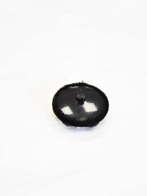 Пуговица круглая на ножке пластик обтянутый черным бархатом бисер стразы черные кристаллы (p0821) - Фото 13