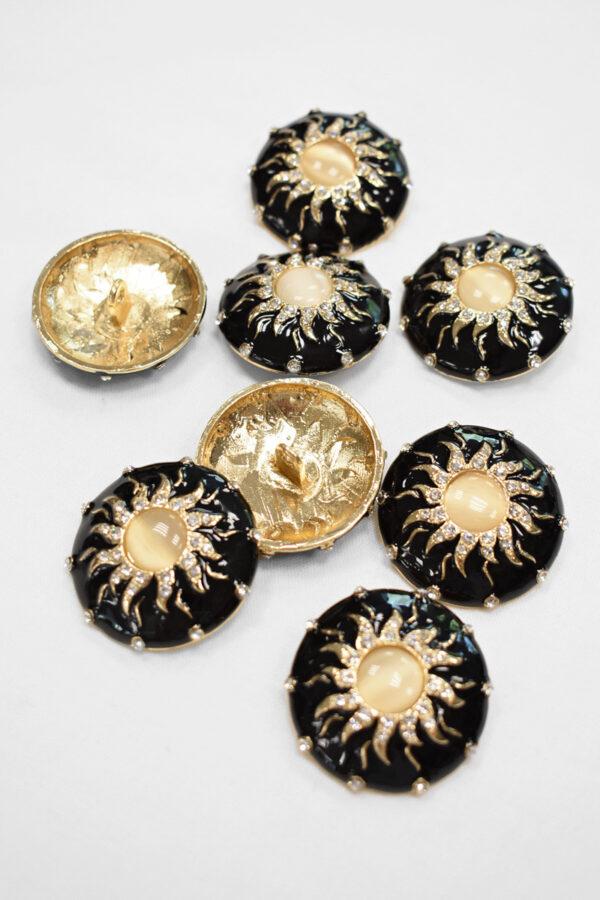Пуговица металл эмаль черная с золотым солнцем и кристаллами (p0876) - Фото 8