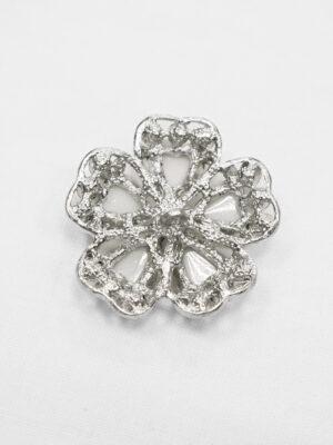 Пуговица металл серебро цветок белый со стразами (p0889) - Фото 15